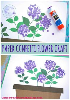 Mar 2020 - Use up some simple paper scraps today, with our Paper Confetti Hydrangea Flowerpot kid craft idea! It's perfect for spring and/or a Mother's Day gift! Spring Arts And Crafts, Spring Art Projects, Summer Crafts, Projects For Kids, Spring Kids Craft, Plant Crafts, Paper Confetti, Preschool Crafts, Kid Crafts