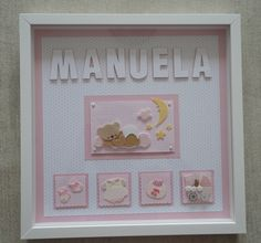 3d Frames, Shadow Box Frames, Letter A Crafts, Baby Crafts, Baby Decor, First Birthdays, Canvas Wall Art, Projects To Try, Arts And Crafts