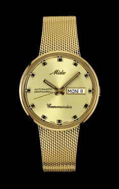 Mido Men's Commander I with yellow dial and metal band style #: M8429.3.22.1 www.midowatch.com