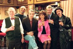 Only Fools and Horses (from left to right): Sid (Roy Heather), Denzil (Patrick Barber), Trigger (Roger Lloyd Pack), Marlene (Sue Holderness), Boycie (John Challis) and Mickey Pearce (Patrick Murray) in a Christmas Day special of Only Fools and Horses. Patrick Murray, David Jason, Horse Star, Only Fools And Horses, Great Jokes, Pack And Play, British Comedy, Old Shows, Comedy Tv