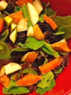 pear, sweet potato and blackberry salad with cinnamon honey dressing