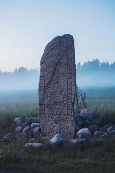 "theagoddesswitch: ""Ancient Rune stone of the ancestors. Viking burials often had many rune stones like this one in the shape of a ship with the body in the center of the stones. They usually buried. Art Viking, Art Scandinave, Viking Aesthetic, Viking Queen, Alexandre Le Grand, Ancient Runes, Rune Stones, The Lord Of The Rings, Norse Mythology"