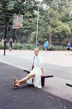 Datura Blog - Member Style #1 Nane Feist - Wearing our classic  White Linen Long Shirt Dress in East Village, NY