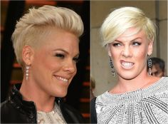 Check out Pink's edgy short cut that goes great with an oval face. See what other styles celebrities chose to flatter their oval face.