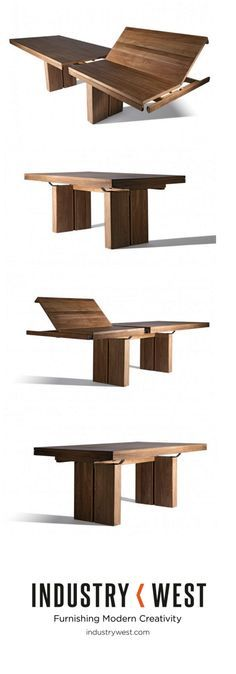 "The Teak Double Extendable Dining Table is new from Industry West collaborating with Ethnicraft. This piece is one of kind and able to adjust from a 78"" table to 118"" in less than a minute. This innovative design features the leaf installed into the table that simply lifts out and fits perfectly into place with a system of gears under the table."