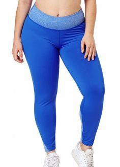 Women Yoga Patchwork Blue Plus Size Sports Leggings - XL Sports Leggings, Yoga Leggings, Printed Leggings, Leggings Store, Cheap Leggings, Workout Leggings, Plus Size Yoga, Plus Size Tips, Plus Size Fashion For Women