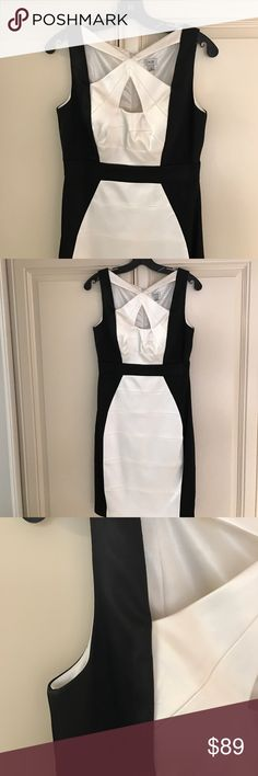"""CACHE Black/White Satin Dress NWOT Beautifully made and fully lined!  Very soft material but Dress is somewhat structured.  Gorgeous cross/cross front. Hidden back zipper.  Fits in the smaller side. White color is like a creamy """"Winter"""" white. Cache Dresses"""
