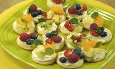 Absolutely Almond Mini Fruit Pizza Recipe │ Refreshing fruits atop creamy key lime individual pizzas.