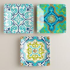 One of my favorite discoveries at WorldMarket.com: Melamine Sufi Tile Appetizer Plates, Set of 3