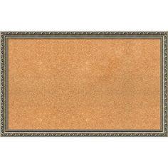Framed Cork Board, Choose Your Custom Size, Parisian Silver Wood (29 x 21-inch), Gold