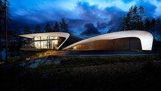 The unique curving shape of this modern house was inspired by the design of boats and airplanes. #ModernHouse #SculpturalHouse #Architecture