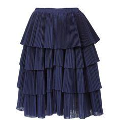 SARA LANZI Tiered accordion skirt ($975) ❤ liked on Polyvore featuring skirts, bottoms, saias, women, blue tiered skirt, blue pleated skirt, tiered skirt, elastic waist skirt and accordion pleated skirt
