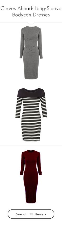 """Curves Ahead: Long-Sleeve Bodycon Dresses"" by polyvore-editorial ❤ liked on Polyvore featuring dress, bodycon, dresses, vestidos, long sleeve mini dress, bodycon mini dress, cotton maxi dress, knee length bodycon dress, gray maxi dress and black cocktail dresses"