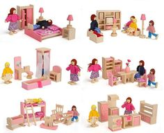buy wooden pink miniature dollhouse furniture kids toys set bedroom dollhouse bedroom furniture doll house sleigh bedroom set signature