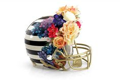 Bloomingdale's teamed up with the Council of Fashion Designers of America (CFDA) to create a unique line of 48 fashionable Super Bowl XLVIII helmets. I love this one by Nicole Miller