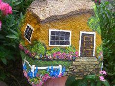 SUNSHINE LANE cheery hand painted rock house