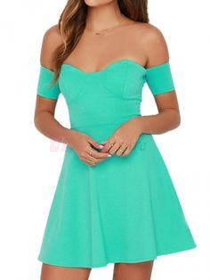 Fashionable Strapless Sexy Short Sleeve Off The Shoulder Pure Color Slim Lady's Dress on fashionsure.com