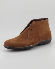 Suede Chukka Boot, Brown by PRADA at Neiman Marcus.
