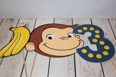 Curious George Party Decor Photo Props by littleshoppeofpaper