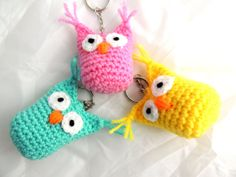 Keychain Crochet Owl Key Ring by SimplyStitcheduk on Etsy