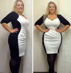 Caroline from Curvy Wordy looks gorgeous in the Cream Contrast Powerfit Dress by Scarlett & Jo.