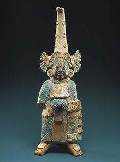 Costumed figure, Maya, s. Ceramic with Maya blue pigment. Metropolitan Museum of Art. South American Art, Native American History, Colombian Art, Maya Civilization, Arte Tribal, Art Ancien, Inka, Mesoamerican, Mexican Art