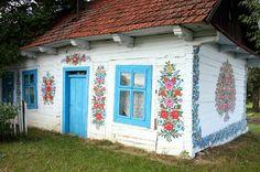 folk art, floral decorative painting on farmhouse