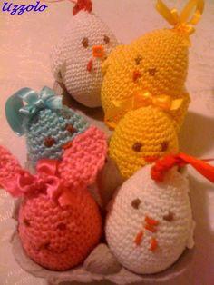Uova decorate all'uncinetto. Coniglietti-Gallinelle-Pulcini
