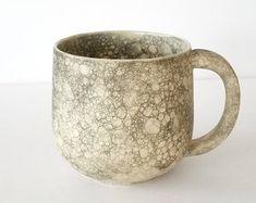 Stone and Cream Bubble Glaze Ceramic Stoneware Mug - Handmade Functional Ceramic Art by Katherine by MuddyRaven on Etsy