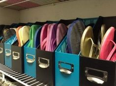 Lots of ideas to store and organize your shoes.  Like this one, - Keep flip-flops in magazine holders.