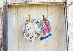 vintage hankie bloomers! find vintage hankies here: http://www.nanaluluslinensandhandkerchiefs.com/