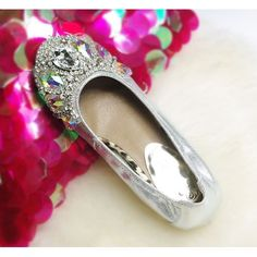 Silver Sparkly Leather Wedding Bridal Evening Ball Ballet Flats Shoes SKU-1090508