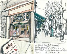 My last visit to Elliott Bay Books at the Globe building    Posted by Gabriel Campanario    I came to Elliott Bay Books when the news of their possible relocation first came out in October (see my post.)    Now that their move to Capitol Hill is official -- read this story by business reporter Melissa Allison -- I returned on Sunday with my Seattle sketching friends to capture our last impressions of the bookstore at the building where it's been for 36 years.