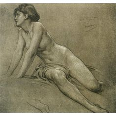 The Studio 1916 Study of figure for a ceiling painting Canvas Art - Herbert Draper (18 x 24)