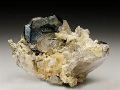 Hematite with Rutile (3.2cm) on Quartz From Cavradi Gorge, Switzerland. Crystal Classics Minerals