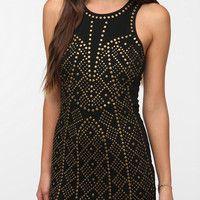 Sparkle & Fade Ponte Knit Studded Bodycon Dress