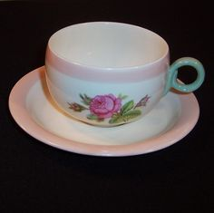 Homer Laughlin Swing Moss Rose Cup & Saucer from ruthsredemptions on Ruby Lane