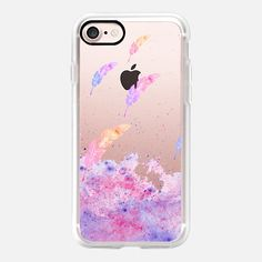 Casetify iPhone 7 Plus Case and other Feather iPhone Covers - Watercolor feathers pink purple splatters by Girly Trend | Casetify
