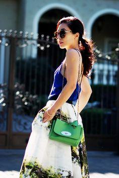 "Hallie Swanson  of Hallie Daily blog wearing SS14 LUBLU Kira Plastinina ""digital garden party skirt."""