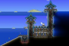 Post with 15648 views. My ocean outpost Terraria House Design, Terraria House Ideas, Building Games, Building Art, Ocean House, Sims 4 Build, Cute Games, Biomes, Indie Games