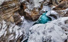 cliff, canyon, stream, river, snow, Canada, Jasper, Alberta, Athabasca