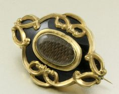 Victorian Mourning Jewelry Hair Art Brooch Black Enamel Gold Filled Antique Memento Pin