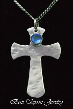 Spoon Jewelry Swarovski Crystal Cross Necklace by Bentspoonjewelry, $19.00