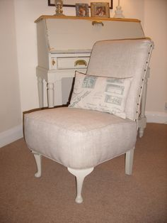 Such A Pretty Handy Little Chair, In Plain Linen And Farrow And Ball