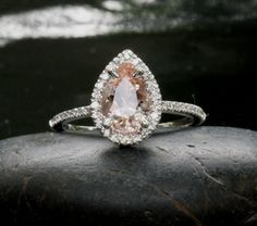 14k White Gold 9x6mm Morganite Pear and Diamonds Wedding or Engagement Ring (Choose color and size options at checkout) on Etsy, $695.00