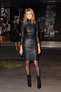 Carine Roitfeld in super sexy leather dress