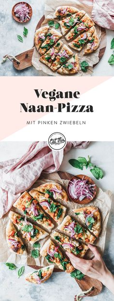 Naan-Pizza mit geröstetem Blumenkohl, Süßkartoffel und pinken Zwiebeln We leave trodden pizza paths for new adventures. With our naan pizza with roasted cauliflower, sweet potato, spinach and creamy l Pizza Recipes, Potato Recipes, Meat Recipes, Vegetarian Recipes, Healthy Recipes, Naan Pizza, Pizza Pizza, Roasted Cauliflower, Cauliflower Recipes