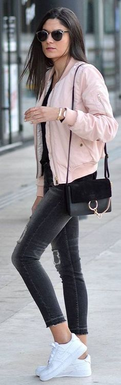 Outfitbook Pale Pink Bomber Jacket    Pink Bomber    JUNE sixty-five #outfitbook
