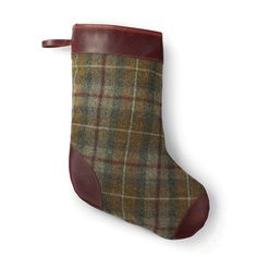 J.W. Hulme x Woolrich wool and leather Christmas stocking, $95 (Made in St. Paul, Minnesota) #madeinusa #madeinamerica