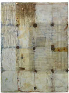 Dreams of the Alchemist by Jamie Lee Hoffer. *Encaustic*, oil stick, copper, found objects and silk tissue on birch cradle board with raw birch edges. Ready to hang.